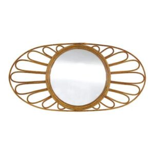 Oval Natural Rattan Floral Wall Mirror