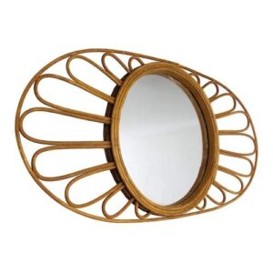 Oval Natural Rattan Floral Wall Mirror showcase