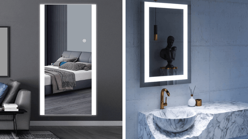 wall mirrors with lights featured image