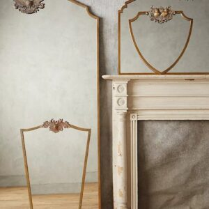 wooded manor brass wall mirror