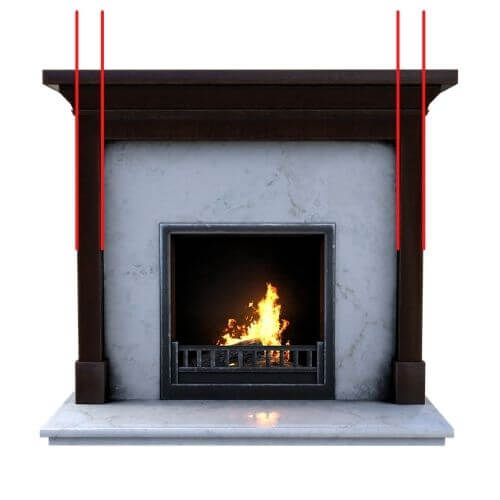 wall mirror above fireplace mantel