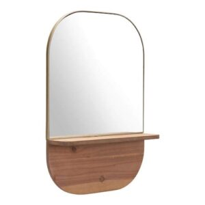 Gold Mirror With Natural Wood Shelf