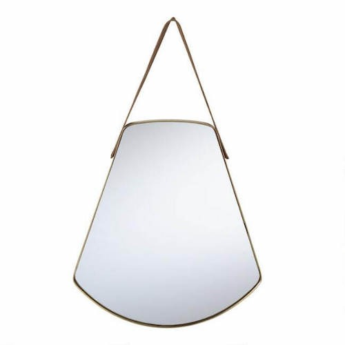 Rounded Brass Fan Mirror With Strap