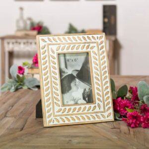Antique Finish Embossed Wood 4X6 Picture Frame