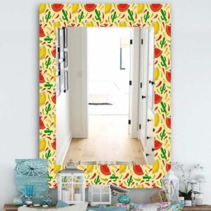 Designart-'Mexican-Woman-Pattern'-Bohemian-and-Eclectic-Mirror---Vanity-Mirror