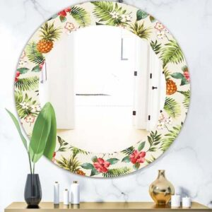 Designart-Tropical-Mood-Foliage-16-Flowers and pineapples wall mirror