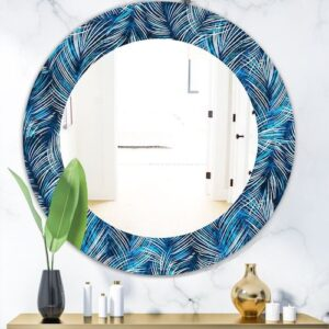 Designart-Tropical-Palm-Leaves-Bohemian-and-Eclectic-Mirror-Oval-or-Round-Wall-Mirror-Blue