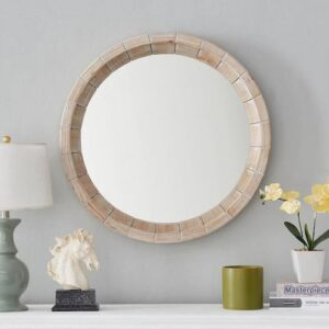 Tropical Round Accent Wall Mirror White Washed