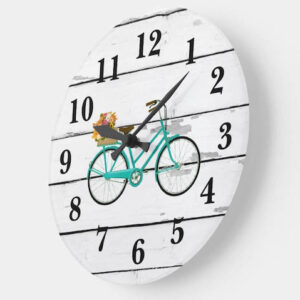 Vintage Turquoise Bicycle with Flowers Shiplap Large Clock
