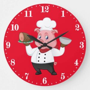 Cute Chef pig kitchen wall decor Large Clock