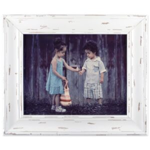 distressed wood white wall frame 8x10