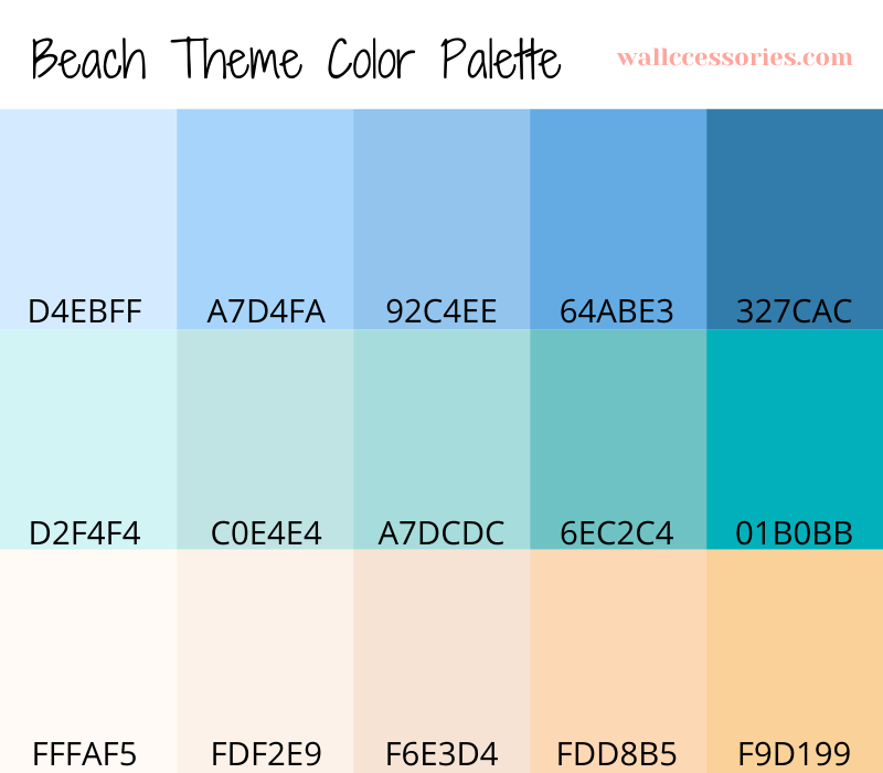 beach bathroom color palette with hex code