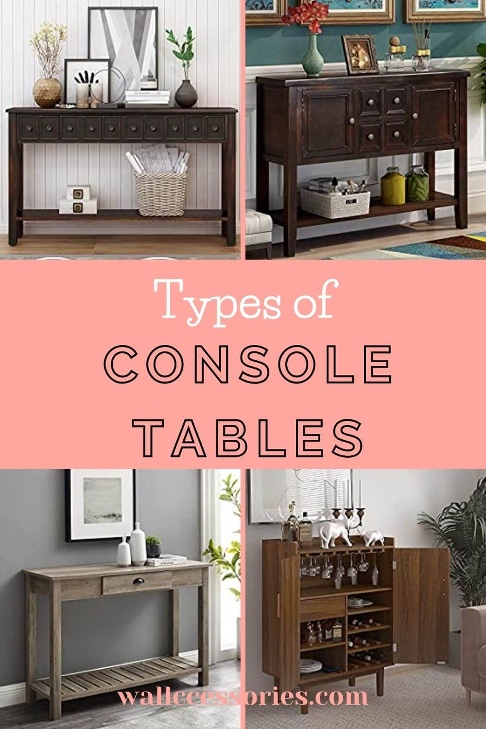 types of console tables pinterest