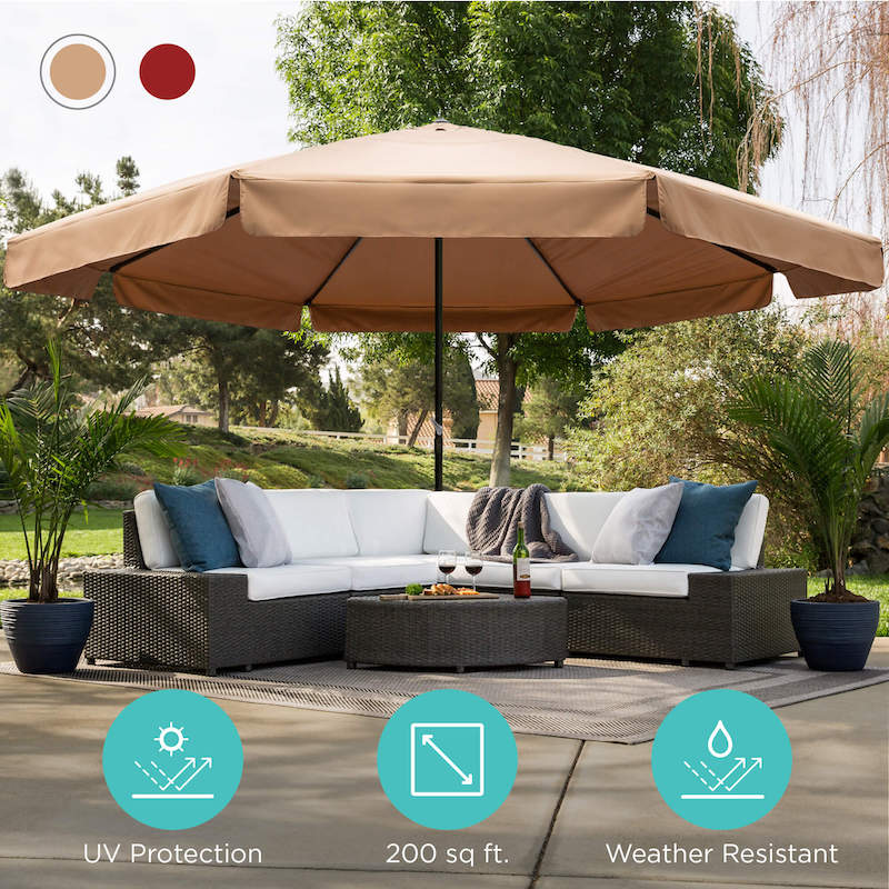Best Choice Products 16ft Extra Large Outdoor Patio Market Umbrella with Cross Base and Crank Review